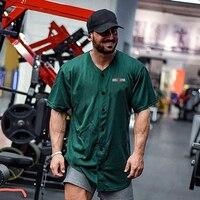 Cárdigan extragrande para hombre, camiseta de malla de secado rápido para gimnasio, camisetas deportivas para culturismo, ropa de calle, camiseta de Hip Hop