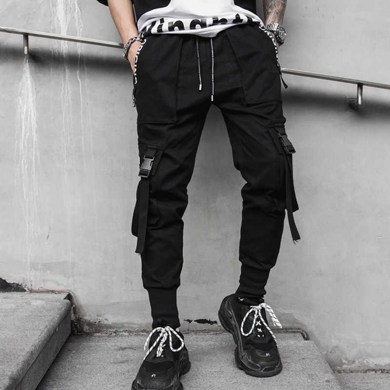 Tasty Life Pantalones De Hip-Hop para Hombres Pantalones Multibolsillos Pantalones Casuales Pantalones De Carga con Estampado De Letras Pantalones De Ropa De Moda Callejera