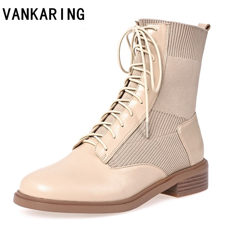 Genuine leather elastic women boots fashion high heel autumn winter lace up woman martin boots round toe ankle boots female shoe