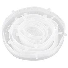 Топ!-6x силиконовые крышки для хранения, 6-упаковка различных размеров силиконовые эластичные крышки для чаши, банки, банки и так далее