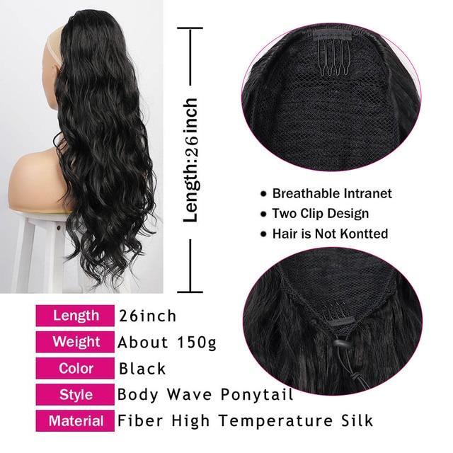 Aisi Schoonheid Lange Body Wave Paardenstaart Uitbreiding Synthetische Koord Paardenstaart Clip In Hair Extensions Voor Vrouwen Zwart Blond Rood