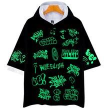 Новый горячий с капюшоном хип-хоп Harajuku с коротким рукавом моды для мужчин и женщин 3D Билли Eilish хип-хоп высокое качество изображения цвет половина
