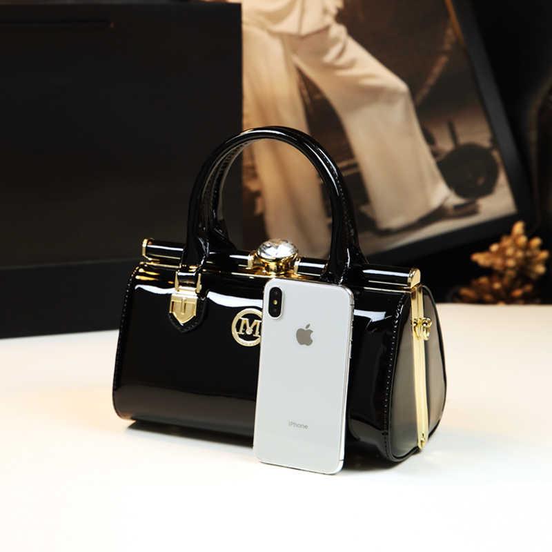 ICEV neue einfache kleine stereotyp box handtaschen damen abend kupplung schulter messenger tasche top griff patent leder taschen solide