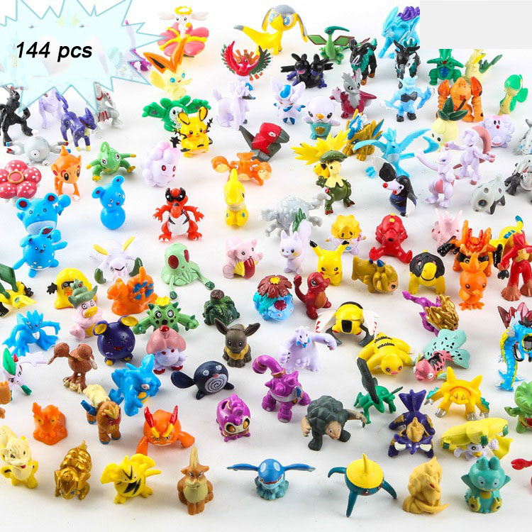 144pcs Pokemon 2.5-3cm Pikachu Pocket Monsters  Pop-up Props Figures Toys Bedroom Furnishings For Children Gift Accessories