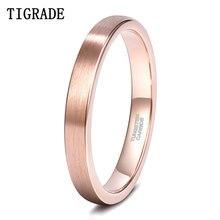Tigrade novo anel de ouro rosa escovado 3mm casamento banda para as mulheres anéis de tungstênio qualidade superior jóias para o casal nunca desaparecer/ferrugem