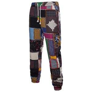 Image 3 - Hommes vacances ensemble lin longue pantalon Style ethnique Patchwork costume masculin Festival porter grande taille 5XL Europe chemise mince automne nouveau