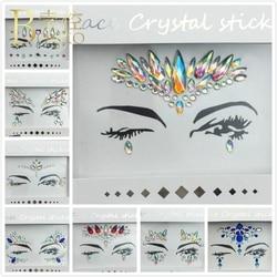 BOAKO Musical Festival Eyebrow Jewelry Glitter Crystal Eyebrow Tattoo Sticker Party Temporary Face Body Rhinestone Stickers K5
