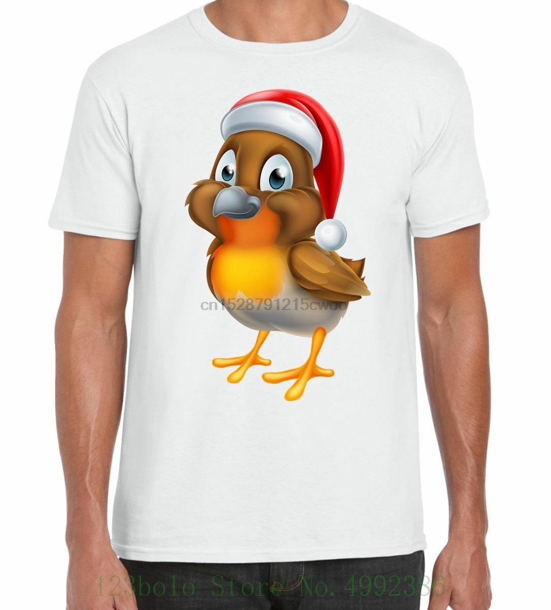 Cartoon Christmas Robin Men T Shirt Casual Plus Size Tshirts Hip Hop Style Tops Tee S-2xl