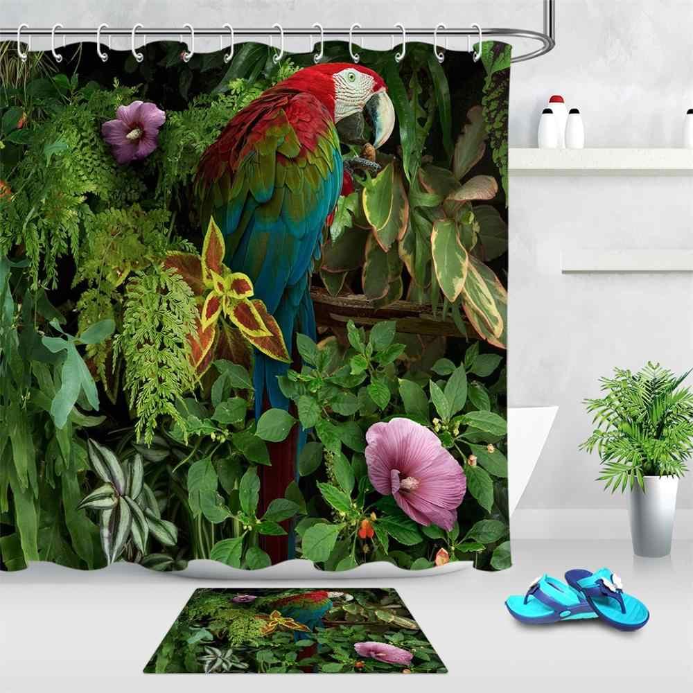 Parrot Horse Creative Animal Fabric Shower Curtain Bathroom Waterproof /& Hooks