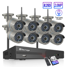 Techage 8CH H.265 Wifi NVR Camera System Two Way Speak Audio Wireless 4/6/8 Pcs 2MP CCTV IP Camera HD P2P Video Surveillance Kit