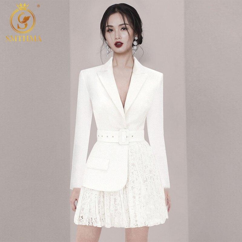 Smthma high end novo outono ol estilo branco vestido feminino elegante rendas retalhos feminino com cinto de negócios vestido da festa