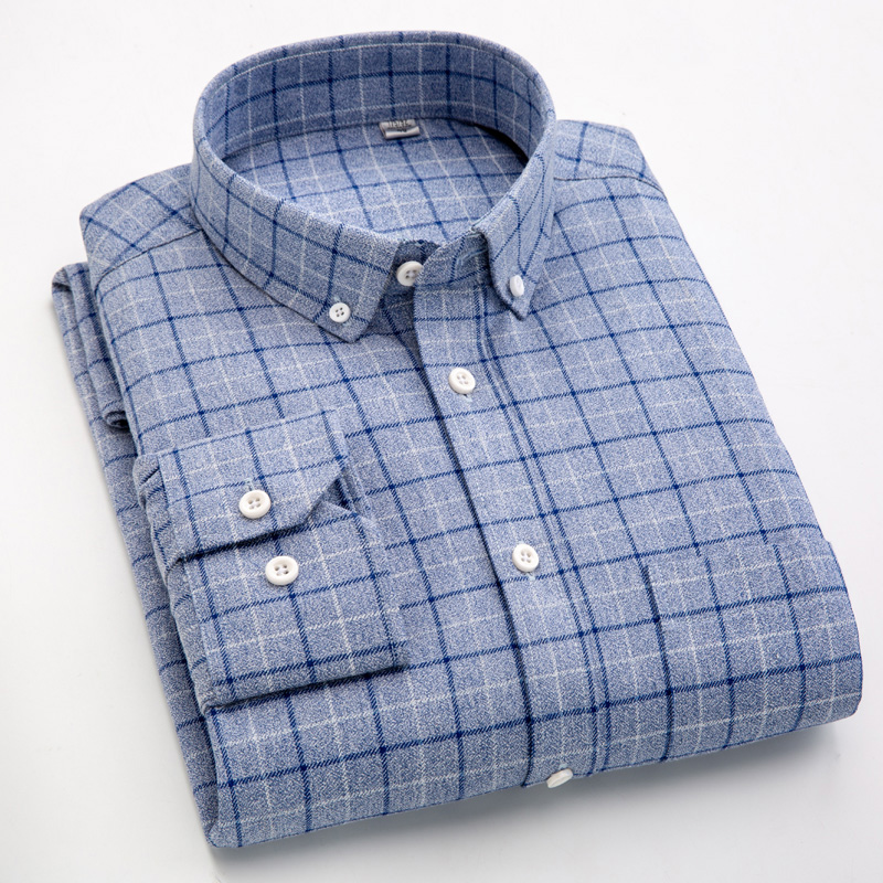 New Men's Plaid Shirts Long Sleeve Regular Fit Sanded Fabric Checkered Shirts for Male Casual