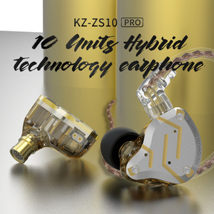 Image 5 - KZ ZS10 פרו זהב אוזניות 4BA + 1DD היברידי 10 נהגים HIFI בס אוזניות באוזן צג אוזניות רעש ביטול מתכת אוזניות