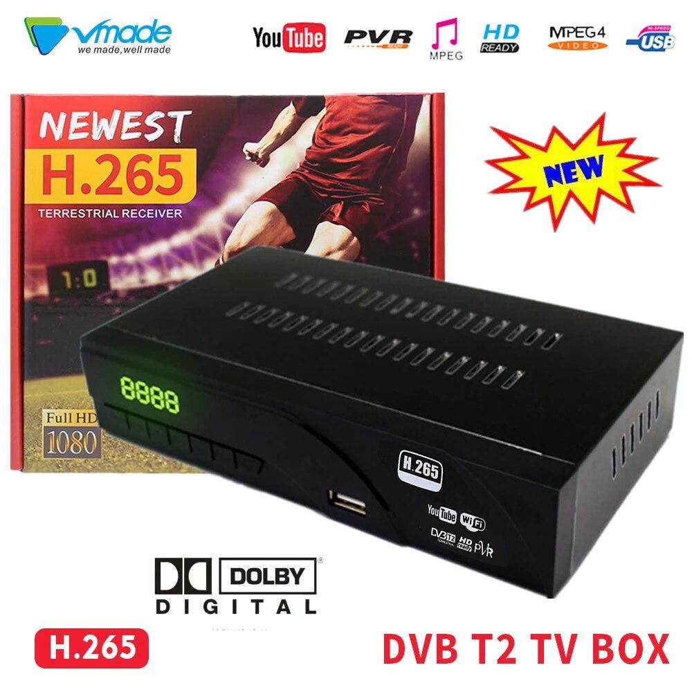 DVB-T2 tchèque de vente chaude dans le récepteur terrestre H.265 boîtier de télévision Full HD avec prise en charge de la télévision péritel Dolby WIFI youtube TPTV décodeur