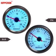 """Car Gauge 2"""" 52mm Bar Turbo Boost Gauge  1~2 Bar /  30~30 PSI Vacuum Press Meter for Auto Blue Light Black Rim 12V"""