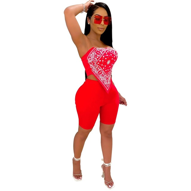 Graphic Bandana Outfit Women Two Piece Club Set Sexy Strapless Cute Handkerchief Crop Top And Biker Shorts Matching Sets Suits 5