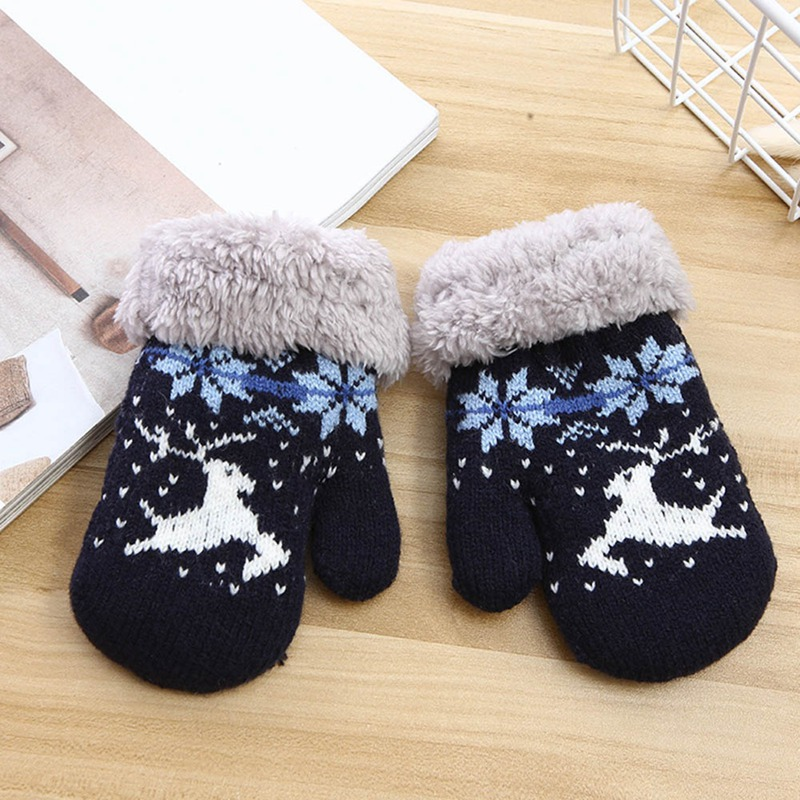Детские зимние толстые теплые перчатки для мальчиков и девочек с милым рисунком из мультфильма, вязаные пальчики, шерстяные теплые варежки, перчатки - Цвет: GLV0446NV
