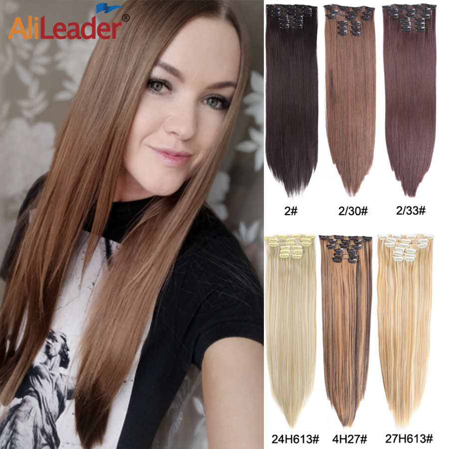 Alileader 16 зажимов для наращивания волос 22 дюйма синтетические волосы для наращивания на заколках свадебная прическа для женщин длинные прямы...