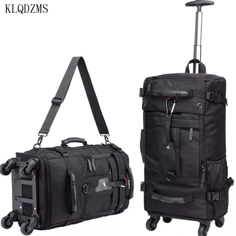 KLQDZMS 18 Inch Multifunctional Trolley Suitcase Bag Travel Wheeled Backpack  Cabin Carry On Luggage For  Women And Men