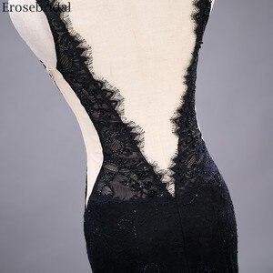 Image 5 - Erosebridal Sexy See Through Mermaid Prom Dress Long Black Lace Evening Dress Deep V Neck Open Back Front Split Formal Dress