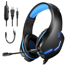 Gaming Headsets Gamer Headphones Surround Sound Stereo Wired Earphones USB Microphone Colourful Light PC Laptop Game 7.1 Sound