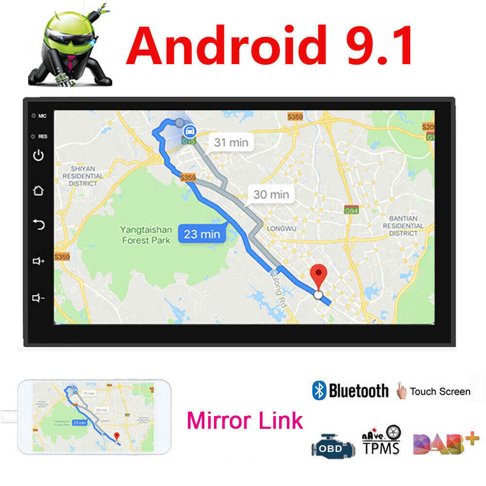 Android 9.1 2 DIN Mobil Radio Multimedia Video Player Universal Auto Stereo Peta Navigasi GPS 7 Inch Bluetooth HD 1024X600 Pemain