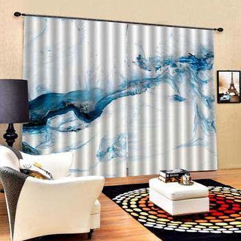 High quality custom 3d curtain fabric Abstract blue painting Luxury Blackout 3D Window Curtains For Living Room Bedroom