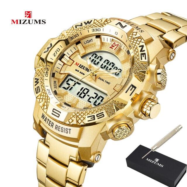 ゴールド腕時計メンズledデジタルスポーツ腕時計男性防水ステンレス鋼バンド高級ブランドmizumsメンズクォーツ腕時計xfcs
