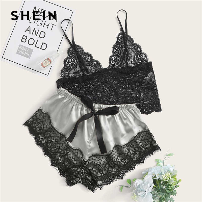 SHEIN Multicolor Floral Spitze Longline Bralette Mit Satin Shorts Dessous Set Frauen Sommer Vertrauten Colorblock Sexy Sets