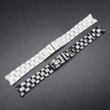Relógio accessorie cerâmica pulseira de relógio para chanel j12 pulseiras relógio corrente preto e branco pulseira à prova dwaterproof água