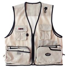 Men Summer Vest Outdoor Multi-pockets Photography Fishing Mesh Male Waistcoat Clothing