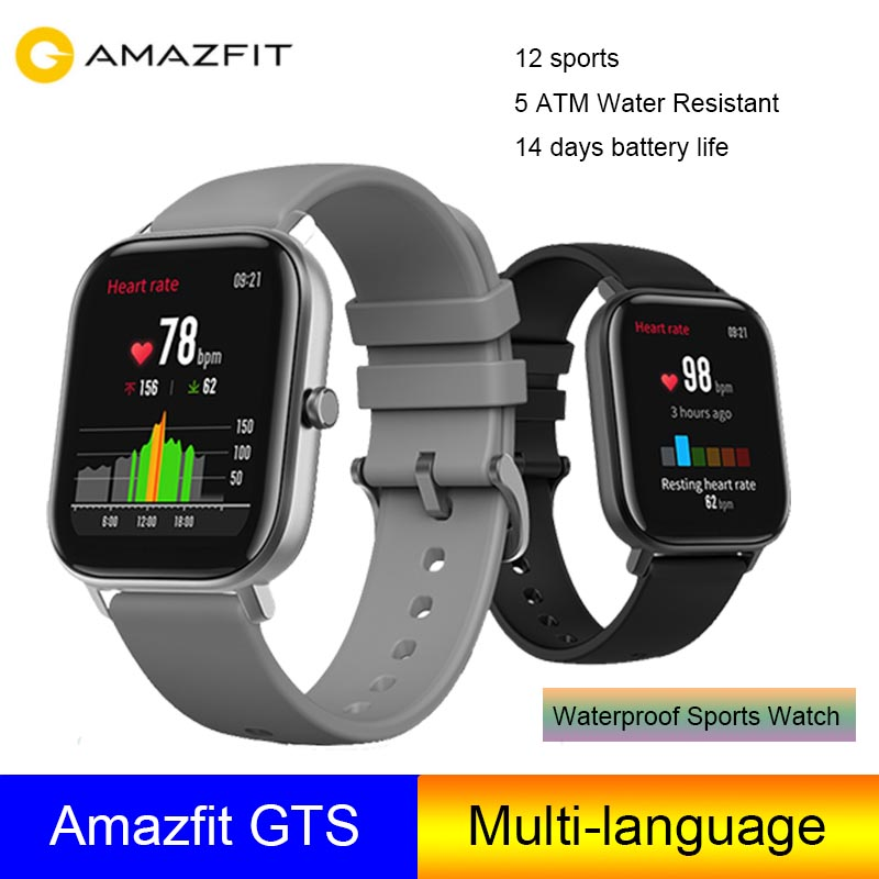 Amazfit GTS Smart Watch 5ATM Watch Resistant 14 days battery life Phone call and message notifications Amazfit bip 2