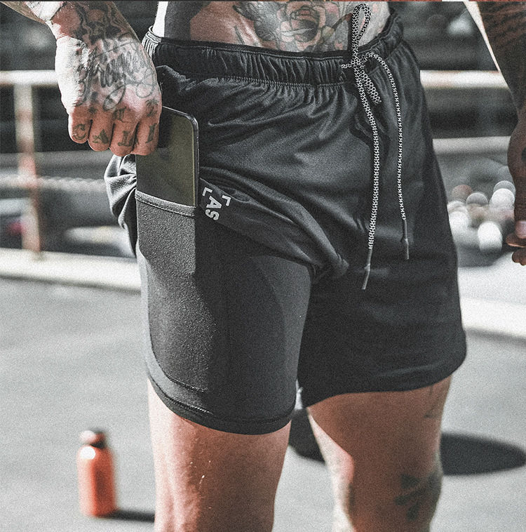 New 2019 Arrival Summer Double-Deck Men's Fitness Bodybuilding Breathable Quick Drying Short Gym Men Casual Joggers Shorts