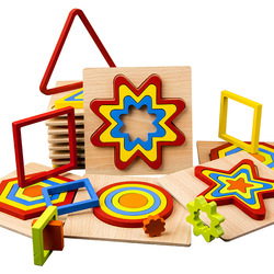Montessori Wooden Puzzle Jigsaw Creative Color Shape Cognize Early Learning Educational Toys For Baby Kids Intelligence Develop