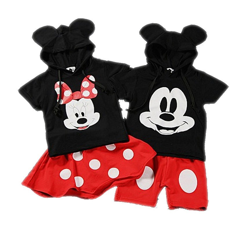 Disney characters Baby Boy Clothing Set Minnie Girls Clothes mickye boys clothes 2pcs Suit School Uniform Sports Outfit Sets