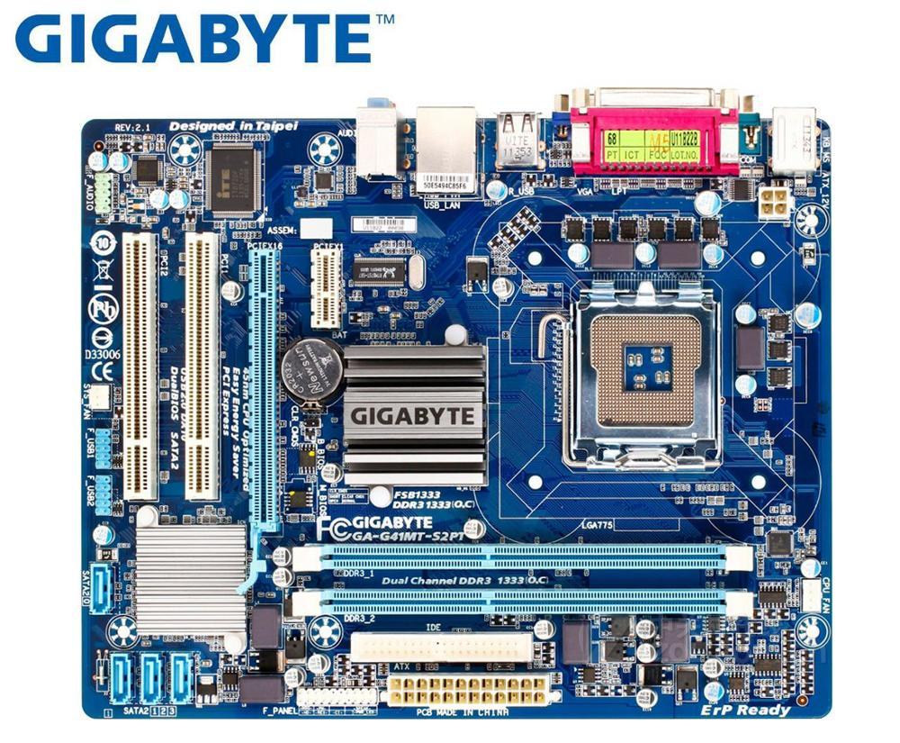 GIGABYTE GA-G41MT-S2PT Desktop Motherboard G41 Socket LGA 775 For Core 2 DDR3 8G Micro ATX Original Used G41MT-S2PT Mainboard PC
