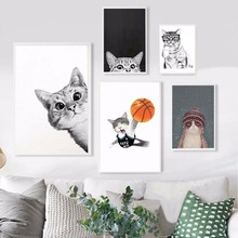 NUOMEGE Kawaii Cartoon Animals Cat Art Canvas Posters Prints Minimalist Painting Nursery Picture Kids Bedroom Decoration