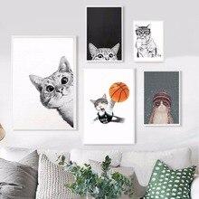 NUOMEGE Kawaii Cartoon Animals Cat Art Canvas Posters Prints Minimalist Painting Nursery Picture Kids Bedroom Decoration