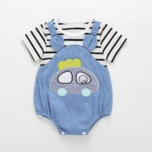 Baby Girls Fake 2 Pieces Cartoon Print Short Sleeve Hot Sale Summer Infant Rompers Kids Boys Bodysuit Jumpsuit Newborn Clothes k(China)