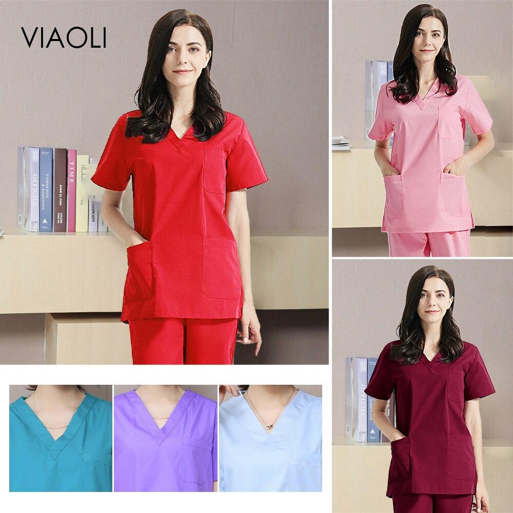 viaoli high quality Scrubs uniform Sets beauty pet shop uniform spa uniform salon uniform womens scrub set Work wear tops pants
