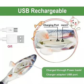 Cat USB Charger Toy Fish Interactive Electric floppy Fish Cat toy Realistic Pet Cats Chew Bite Toys Pet Supplies Cats dog toy 3