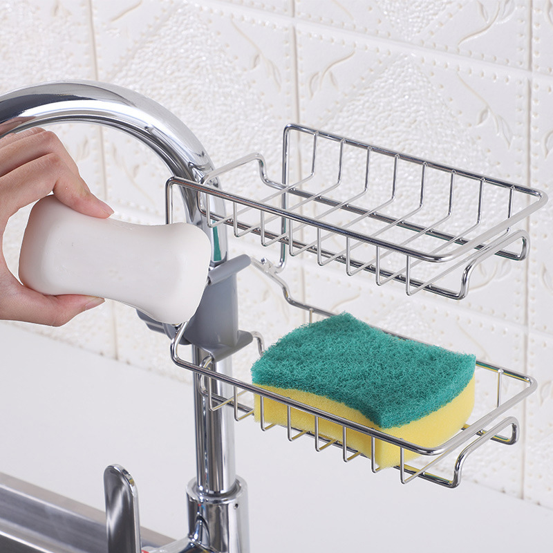 Stainless Steel Hot Sink Hanging Storage Rack Holder Faucet Clip Bathroom Kitchen Dishcloth Clip Shelf Drain Dry Organizer NE
