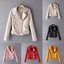 Coat 2019TOP Hot Fashion Women Winter Long Sleeve Solid Zipper Jacket Overcoat Outwear  Windproof leather jacket For