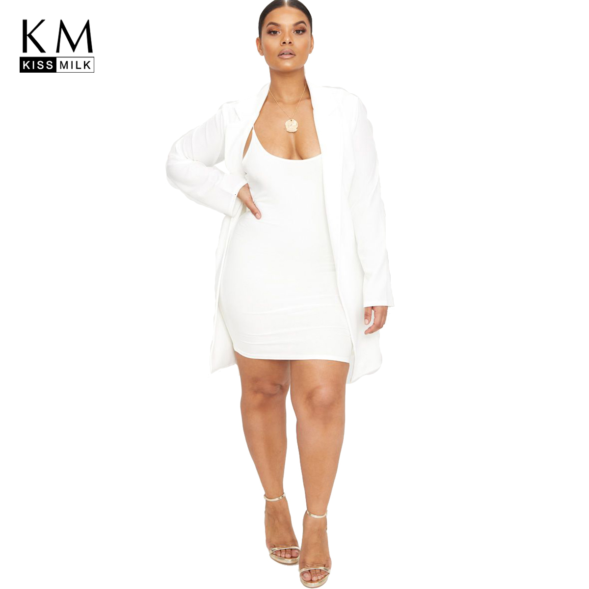 Kissmilk Plus Size Woman Clothes Suit Collar Cardigan Without Button Long-Sleeved Large Size Blazer