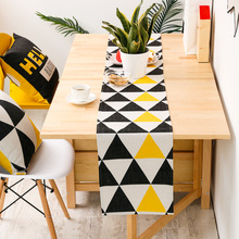 Table Runner Long Table Cover Fabric Modern Yellow Black Triangle Geometric Cotton Blend Mat Home Decoration