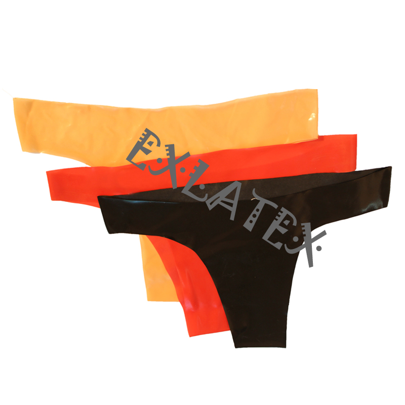 EXLATEX Mens Black Latex Rubber G-String Underwear with Cock and Ball Sheath