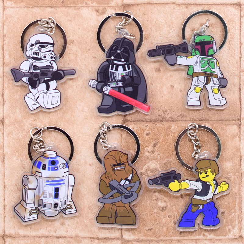 Star Wars Keychain Super Heroes Double Sided Acrylic Key Chain Pendant Anime Accessories Cartoon Key Ring Hot Sale