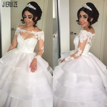 JIERUIZE Newest Wedding Dresses Bateau Neck Illusion Long Sleeves Lace Appliques Tiered Organza Button Back vestidos de novia фото