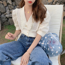 HziriP French White V-Neck Lace Lapel Palace Style Hot Women Blouses 2020 Gentle Versatile Chic Fash