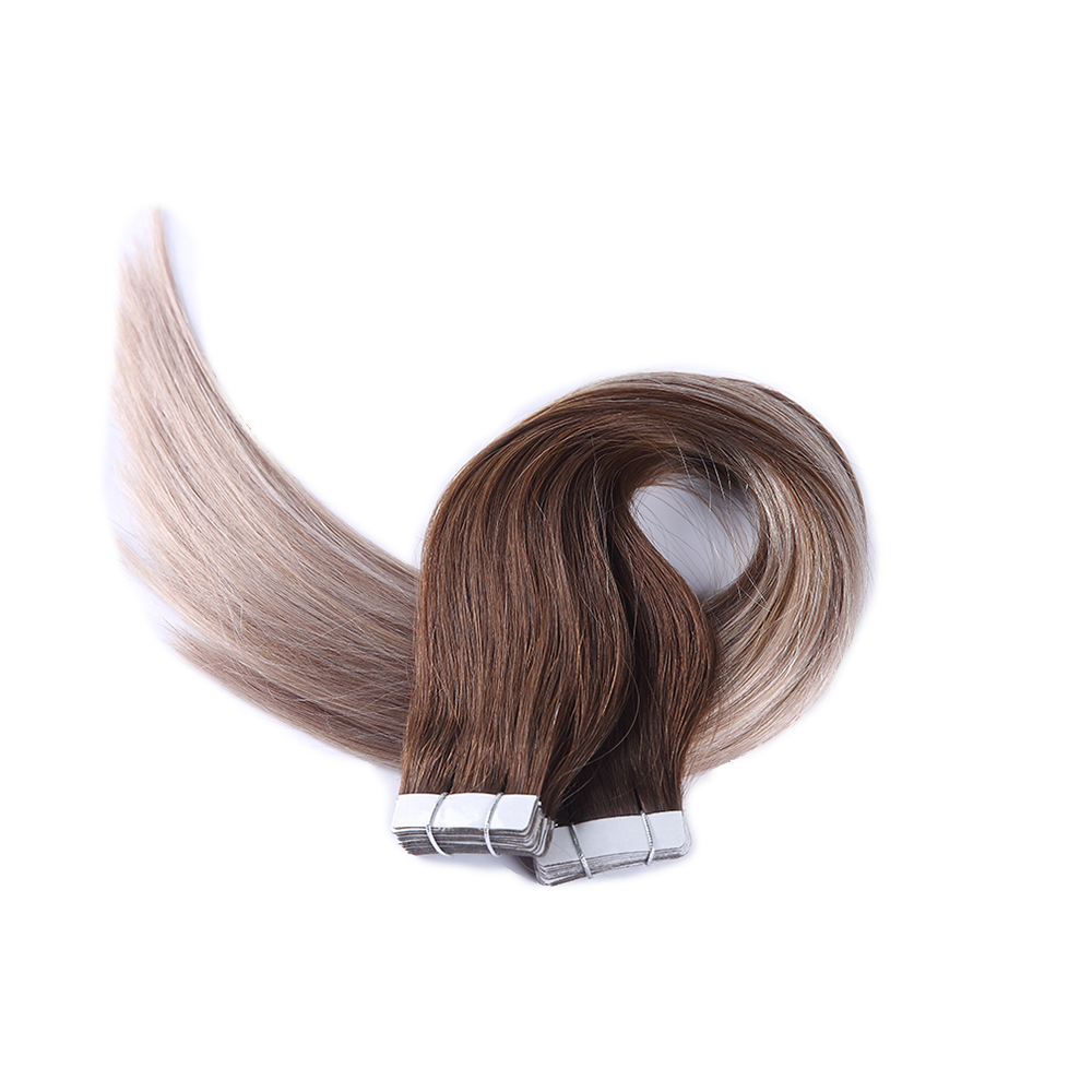 Sindra Real Hair Extensions Silky Straight PU Skin Weft 20pcs 40pcs Tape Hair Extensions Balayage Color 4b To 18b